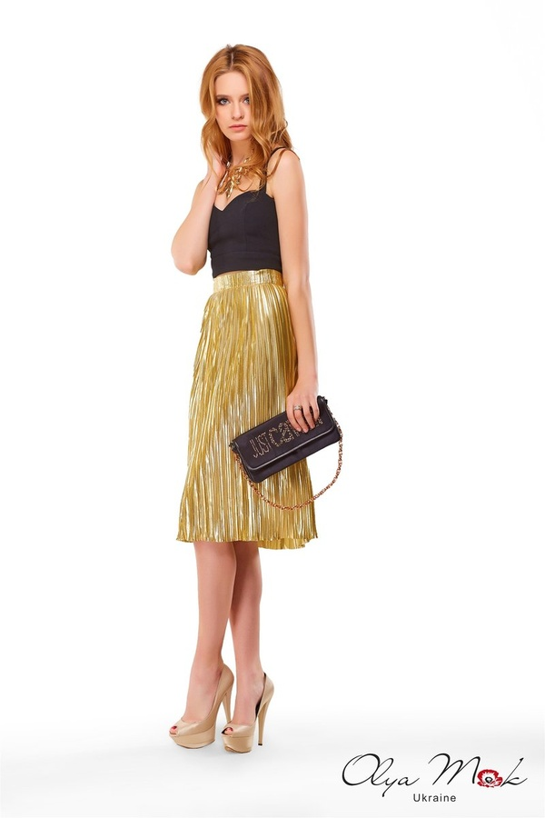 Pleated Skirt Gold Evening dresses and cocktail dresses, catalog Olya Mak