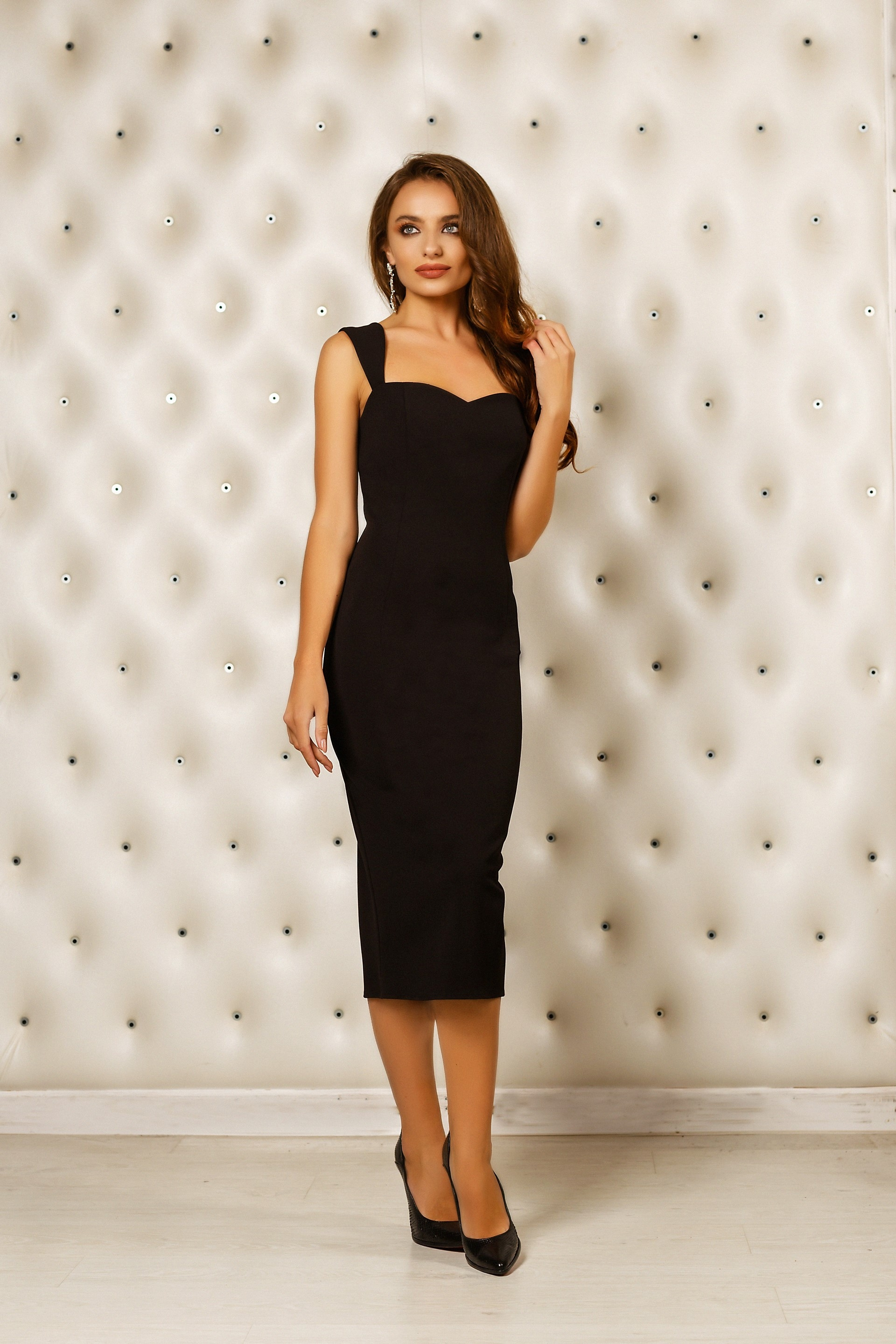 Below the knee black cocktail dress